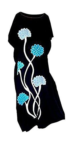 Coole Kaftane Dahlia schwarz Hand gezeichnet Blumen Kleid-Sommer Beach Long Damen-Frauen