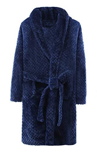 ABClothing Robe de Chambre pour garçon en Peluche Douce Robe de Bain pour Enfant Robe de Chambre Loungewear Peignoir Bleu 3 4