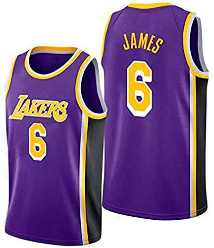 TGSCX Jersey de Baloncesto para Hombre NBA Los Angeles Lakers 6# James Cómodo/Ligero/Transpirable Malla Bordada Swing Swing Swing Sworks Camisa de retrot,C,L