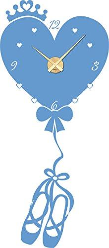 GRAZDesign muursticker klok hart als luchtballon - kinderklok kinderen wandklok ballerina / 800642 Uhrwerk gold 056, lichtblauw
