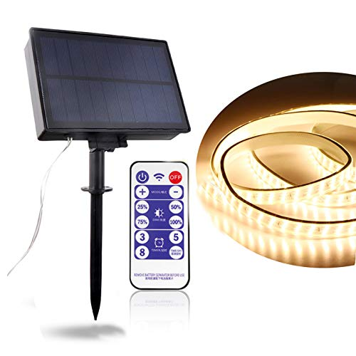 Striscia LED Solare 16.4ft/5M Strisce LED con 8 Modalità Illuminazione IP67 Impermeabile Fredda Striscia Flessibile Perfetto per Interno e Esterno Decorazione per Festa, Giardino, Cucina