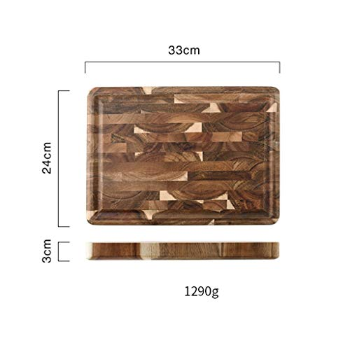 Huishoudelijke Planken Splicing Hakken Snijplank Keuken Acacia houten snijplank Dik Breadboard Eettafel Decoration Prop Charcuterie Board (Size : 33)