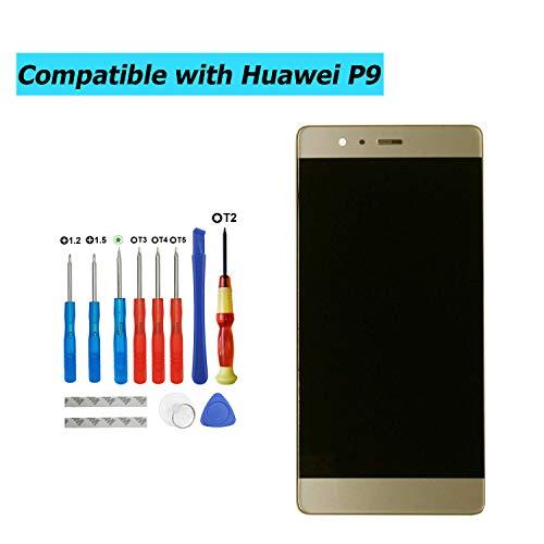 Upplus - Pantalla LCD de Repuesto Compatible con Huawei P9 Standard EVA-L09 EVA-L19 EVA-L29, Pantalla LCD táctil con Marco y Juego de Herramientas (Dorada)