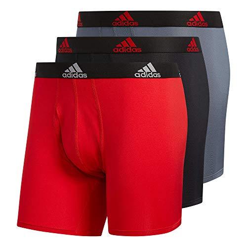 adidas Men's Performance Boxer Brief Underwear (3-Pack) Boxed, Scarlet Red/Black/Onix Grey, Large