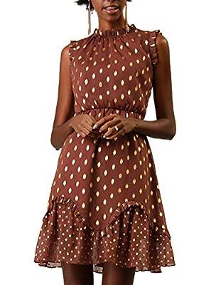 Allegra K Women's Dots High Neck Sleeveless Metallic Print Ruffle Cocktail Party Dress Brown M