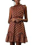Allegra K Women's Dots High Neck Sleeveless Metallic Print Ruffle Cocktail Party Dress Brown L