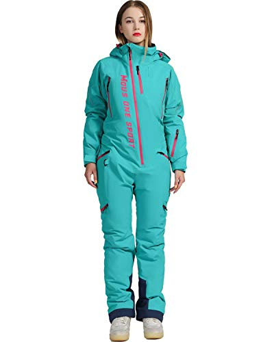 MOUS ONE Women One Pieces Ski Suits Waterproof Warm Insulated Ski Jumpsuit Removable Hood Snowsuit for Snow Sport(Blue, Large)