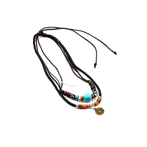 KJFUN Collares De Cuero para Hombres Collar con Colgante De Moneda Antigua Collar De Cruz De Cuentas De Madera Multicapa