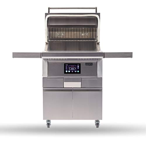 Coyote 28 Inch Freestanding Pellet Grill on Cart, Stainless Steel, Intuitive Digital Touch Control - C1P28-FS