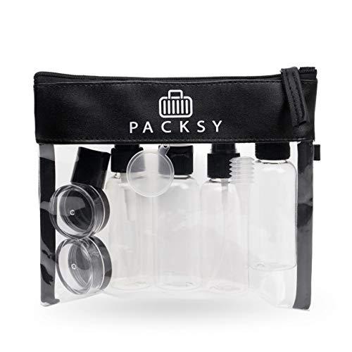PACKSY Premium Kulturbeutel transparent 1l mit Reiseflaschen-Set | Flüssigkeiten Reiseset für Ihr Flugzeug-Handgepäck | Unisex & TSA konform (schwarz)