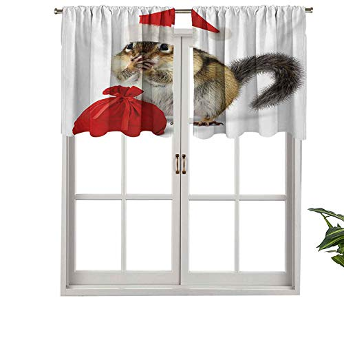 """Indoor Home Curtain Valance Panel Chipmunk in Red Santa Claus Hat Bag, Set of 2, 42""""x36"""" for Bathroom and Cafe"""