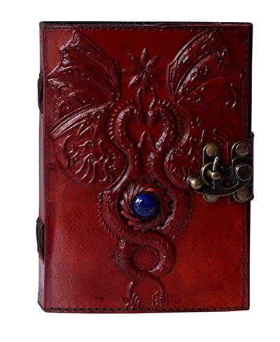 Dragon Leather Journal with Clasp Third Eye Stone Celtic Embossed Journal Vintage Sketchbook Parchment Paper Writing Wiccan Pagan Notebook for Women Diary Appointment Organizer Poetry Book 7x5 Inches