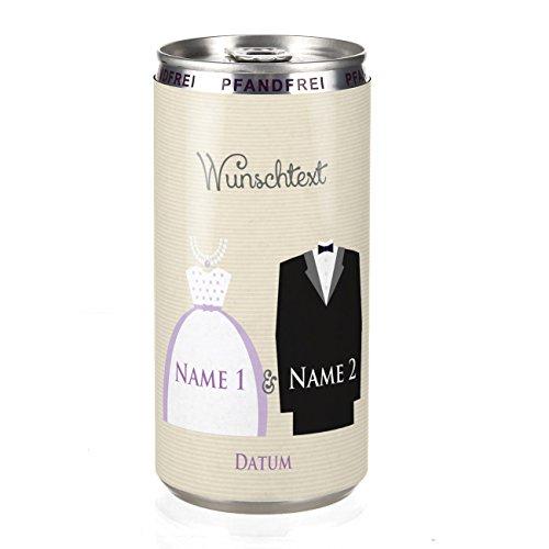 Herz & Heim® City Secco zur Hochzeit mit Brautkleid & Anzug Motiv perfekt als Gastgeschenk zur Hochzeit mit Namen, Datum und Wunschtext