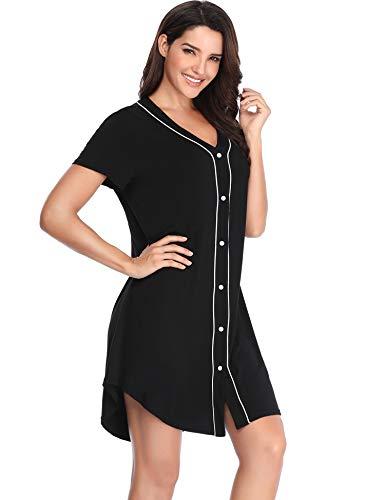 Lusofie Nightshirts for Women Soft Sleepwear Boyfriend Sleep Shirts Long Sleeve V-Neck Nightgowns (Grey, XXL)