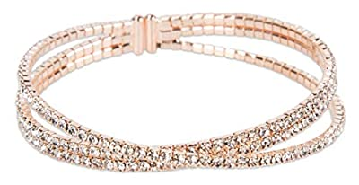 SPUNKYsoul Rhinestone Flex Bracelet in Gold Silver Multi Color, Gun Metal and Rose Gold for Women (Rose Gold)