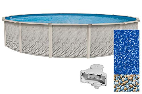 Lake Effect Galeria 30 Foot Round Above Ground Swimming Pool | 52 Inch Height | Resin Protected Steel-Sided Walls | Bundle with Bedrock Pattern 25 Gauge Overlap Liner and Widemouth Skimmer