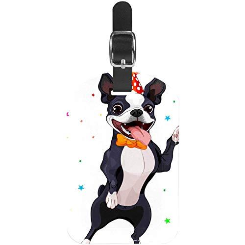 Unknown - Etiquetas para Equipaje (Piel), diseño de Boston Terrier, 1 Paquete