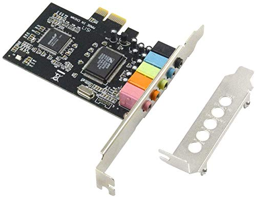 HXHLWN PCIe Sound Card, 5.1 Internal Sound Card for PC Windows8 7 with Low Profile Bracket, 3D Stereo PCI-e Audio Card, CMI8738 Chip 32/64 Bit Sound Card PCI Express Adapter Need to install the driver