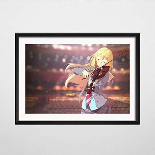 NOVELOVE Tu Mentira en Abril Anime Arte Lienzo Pintura Cartel Pared Cuadros Decoración para el hogar sin Marco 50 * 70cm 4