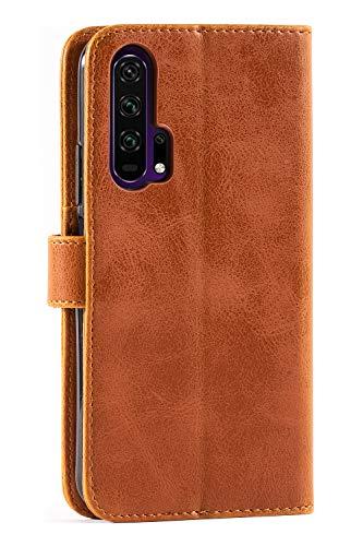 Mulbess Handyhülle für Honor 20 Pro Hülle, Leder Flip Case Schutzhülle für Huawei Honor 20 Pro / Honor20 Pro Tasche, Cognac Braun - 3