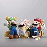 dingtian Juguete de Peluche 3pcs / Set Super Mario Bros Luigi Raccoon Mario Kitsune Fox Luigi White Racoon Fire Mario Peluche 8 cm