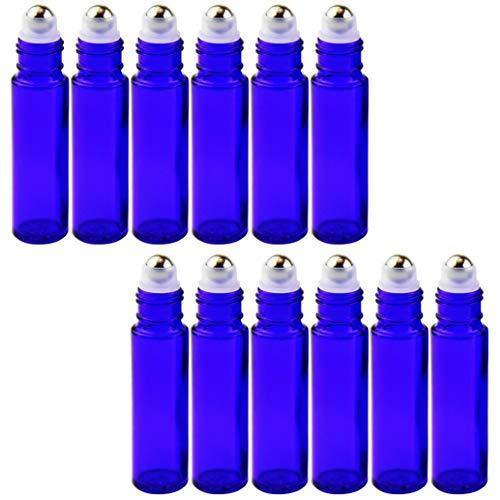 Voarge 12 botellas pequeñas vacías de cristal de 10 ml, para aceites esenciales, con bola de acero inoxidable, para aceites esenciales, mezclas de aromaterapia, perfume, masaje (azul)