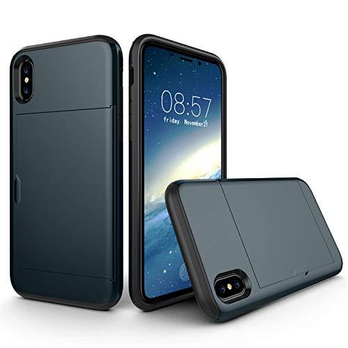 Suhctup Compatible con iPhone 6 Plus/6S Plus Funda PC Duro y TPU Suave Doble Capa de Diseño Carcasa Protectora con Tarjetero Bolsillos Antigolpes Anti-Arañazos Protección Caso