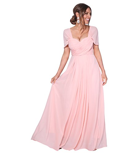 KRISP Vestido Fiesta Largo Talla Grande Boda Elegante Plisado Noche, (Rosa (4815), 48 EU (20 UK)), 4815-PNK-20, Rosa (4815), 48 EU (20 UK), 4815-PNK-20
