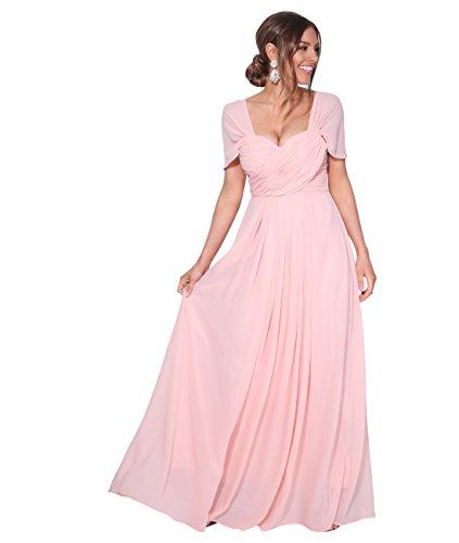 KRISP Vestido Fiesta Largo Talla Grande Boda Elegante Plisado Noche, (Rosa (4815), 48 EU (20...