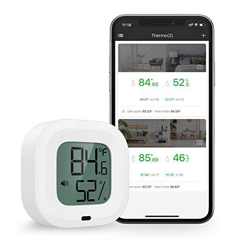 Brifit Termometro Igrometro Bluetooth, Monitor di Umidità Della Temperatura con 1.5''Schermo LCD, con Avviso di Allarme, Igrometro Termometro Interno display su iOS o telefono Android tramite APP