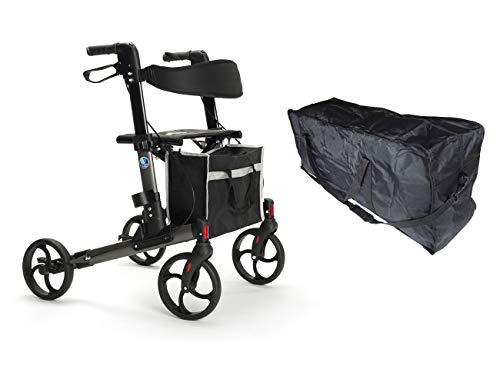 FabaCare Rollator Quava, Leichtgewichtrollator, faltbar, Carbon-Grau mit Tasche