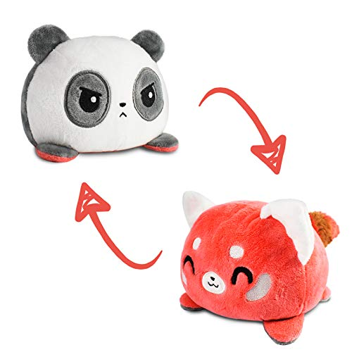 TeeTurtle | The Original Reversible Panda and Red Panda Plushie | Patented Design | Black and Red | Show Your Mood Without Saying a Word!