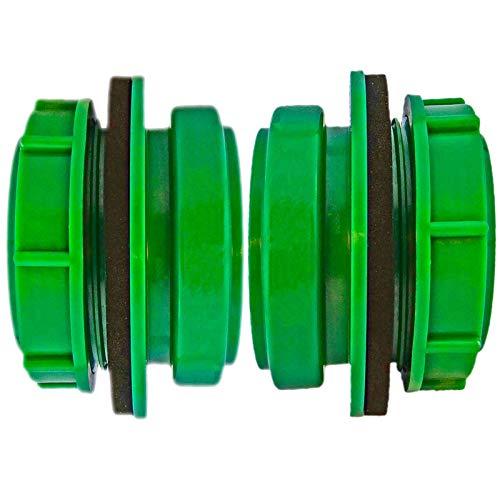 2 Stück DN50 Anschraub-Muffe grün UV-stabilisiert | Außengewinde 2 Zoll (ca. 59mm) Regentonnenverbinder Regentonne Airfit