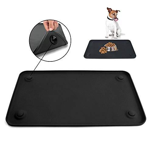 SENDR.KR Premium Napfunterlage aus Silikon für Katze oder Hund (rutschfest & wasserdicht), Futtermatte mit hoher Kante, FDA Hundenapfmatte (19 * 12in)&(24 * 16in) (XL B)