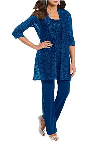 3 Stück Brautmutter-Hose, Anzüge, Partykleider, Outfit, Mutter-formelle Kleidung - Blau - 44