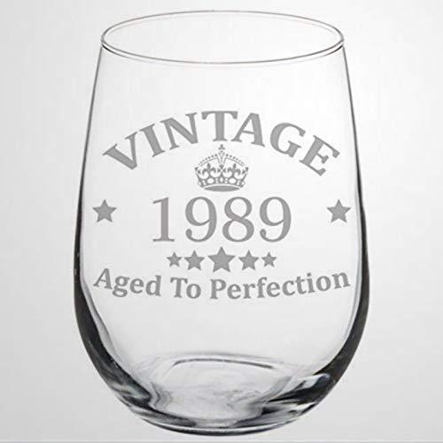 Copa de vino para 28 cumpleaños, vintage, envejecida a la perfección, 1989,...