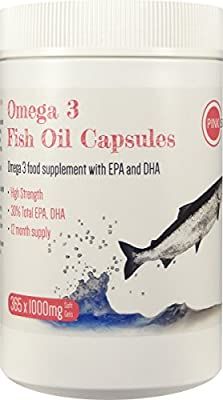 Fish Oil Capsules 1000mg x 365 Omega 3 High Strength Softgels Nutritional Supplements with EPA and DHA Essential Fatty Acids Food Grade - Approx 1 Year Supply Bulk Buy Caps Omega3 Pack PINK SUN