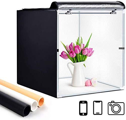 FUNTRESS 簡易スタジオ カメラ スマホ写真用撮影ボックス 折り畳み式撮影キット 携帯型撮影ブース 組立簡単 背景スクリーン3色付(ブラック ホワイト オレンジ) (60×60×60cm)