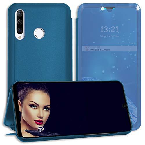 mtb more energy® Cover Clear View für Huawei P30 Lite / P30 Lite New Edition (6.15'') - Blau-Transparent - Aufstellfunktion - Soft Touch Smart Hülle Hülle Tasche