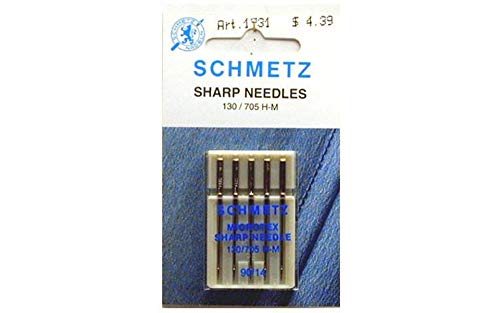 25 Schmetz Microtex Sharp Sewing Machine Needles 130/705 H-M Size 90/14