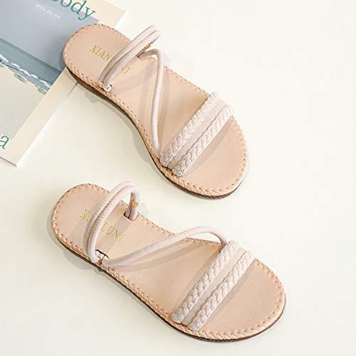 TMXWHYQ Flache Sandalen Frauen-Sommer-Wilde koreanische Version des Lederbekleidung EIN Paar Schuhe und Sandalen,Apricot,35