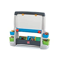 Two-sided easel with chalkboard and white board is double the fun and encourages multi-child play! Extra-large white board surfaces wipe clean easily Easel encourages creativity and will enhance little artists' fine motor skills through drawing and w...