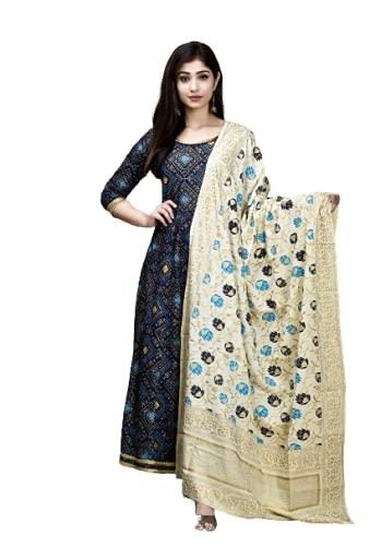 Miss Kurties Women's Rayon Printed Anarkali Dupatta Set | Kurta Set with Dupatta for Women (X-Large) Blue