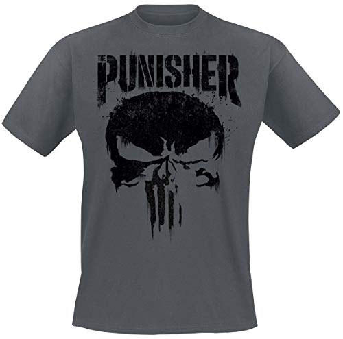 The Punisher Big Skull Uomo T-Shirt Grigio Scuro M 100% Cotone Regular
