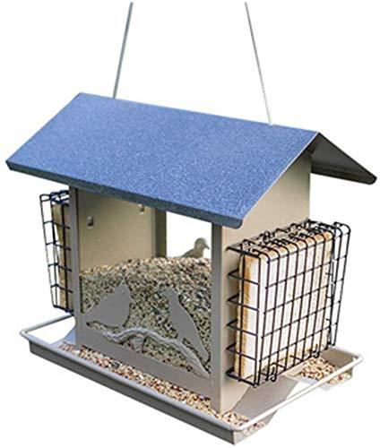Mangeoire for oiseaux sauvages facile à nettoyer classique Feeder Tube Bird House Garden Hut Capacité Recharge Mangeoire for extérieur traditionnel en métal suspendu Oiseau décoratif Table autoportant