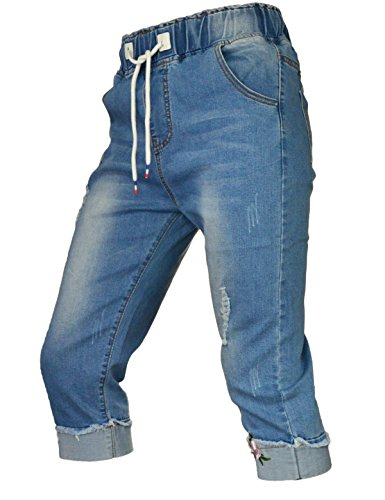 PHOENISING Women's Ripped Hole Style Trousers Embroidery Fashion Jeans,Size 6-20 Light Blue