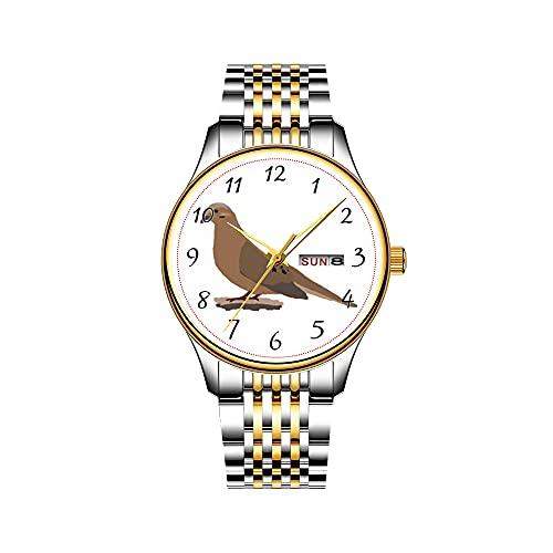 Reloj de hombre de cuarzo japonés con fecha de acero inoxidable, pulsera dorado, reloj de luto o paloma de turbo, reloj digital con diseño de pájaros