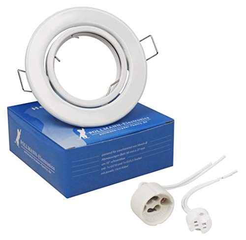 Spot encastrable, orientable, cadre de support pivotant pour LED et halogène y compris douille GU10 BLANC