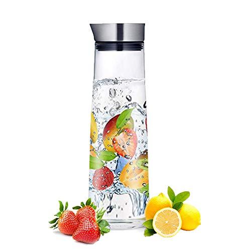 1L Vetro Acqua Caraffa,Copertura in acciaio inox,Facile versare,Acqua calda e fredda per acqua, latte, succo di frutta, tè ghiacciato, limonata e bevande scintillanti