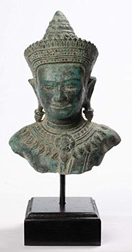 Estatua de ángel o apsara de bronce antiguo estilo Khmer Angkor Wat de bronce, 32 cm